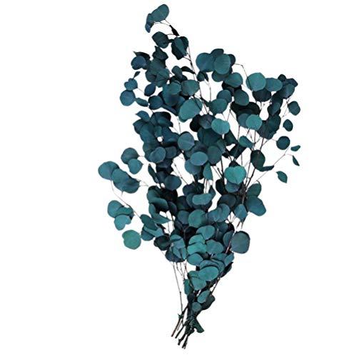 Cabilock Eukalyptus Eukalyptusblätter Getrocknete Eukalyptus Künstlich Pflanzen Zweige Blumen Bouquet Dekoration Stängel Hochzeit Weihnachten Tischdekoration Zubehör (Blau)