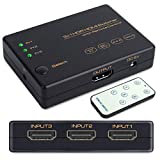 HDMI切替器 usb給電 HDMI分配器 3入力1出力 4K+3D HDMI セレクター 4K60Hz HDMI2.0 HDCP2.2対応 スプリッター 自動手動切替機能搭載 リモコン付き PS5、PS4 Pro、PS3、Xbox、Fire TV、ROKU、ラップトップ、Apple TV、DVDプレーヤーなど対応