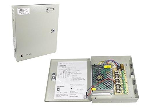 Vetrineinrete Alimentatore stabilizzato per telecamere videosorveglianza con 9 uscite canali Box Telecamera 12V 10A 220v A22