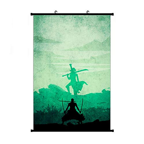 Fubuki A Wide Variety of One Piece Zoro Vs Mihawk Wall Scroll Hanging Decor (16x24 in, 24x36 in)