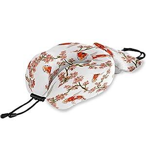 QMIN Almohada de Viaje Japonesa Koi Fish Sakura Flor, Espuma viscoelástica para el Cuello, Almohada en Forma de U ergonómica para el Cuello, Kit de Viaje para Aviones Largos y Trenes de Coche
