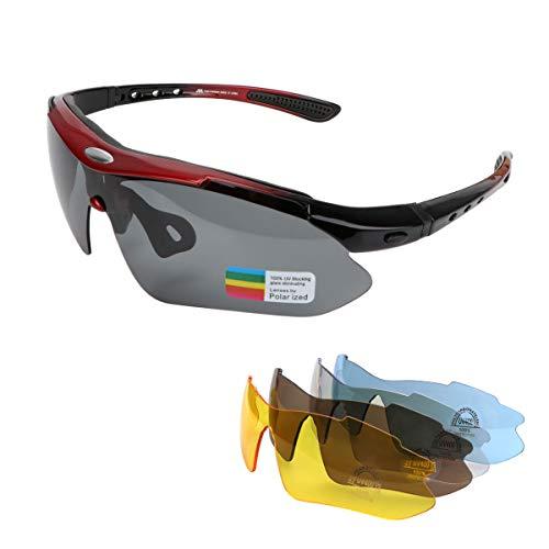 KASIVOUK Gafas deportivas de bicicleta para hombre y mujer, polarizadas, protección UV400, con 5 lentes de recambio, para deportes al aire libre, ciclismo, motocicleta, correr, pesca, golf