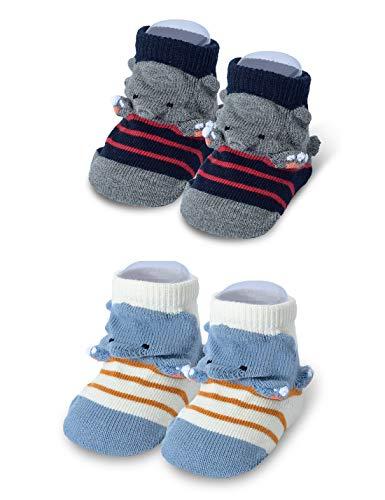 Baby Girl Boys Non Slip 3D 2 Pack Socks for Gift Set,Baby Shower and Newborn Present 0-12 Months White