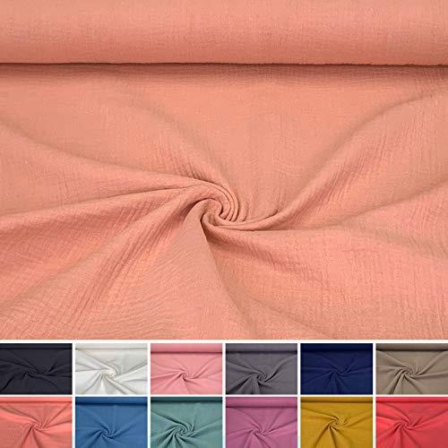 babrause® Musselin Mulltuch Stoff aus Baumwolle Uni Altrosa - Ab 0,5 Meter