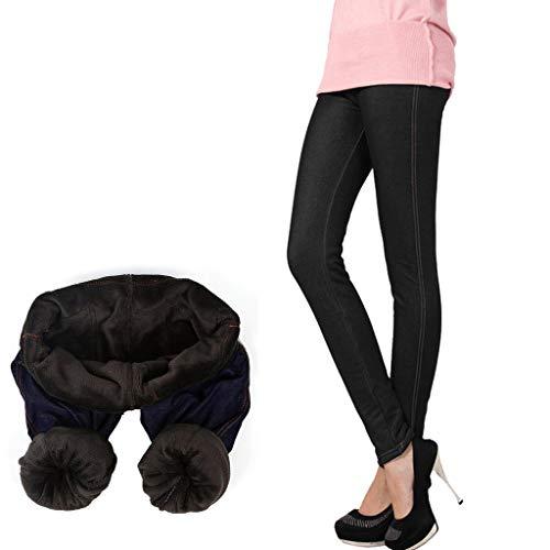 LOPILY Gefütterte Jeans Leggings High Waist Thermo Stretchhose Skinny Jeans mit Innenfleece Elastische Röhrenhosen Verdichte Winterhosen Stretch Treggings (Schwarz, XL)