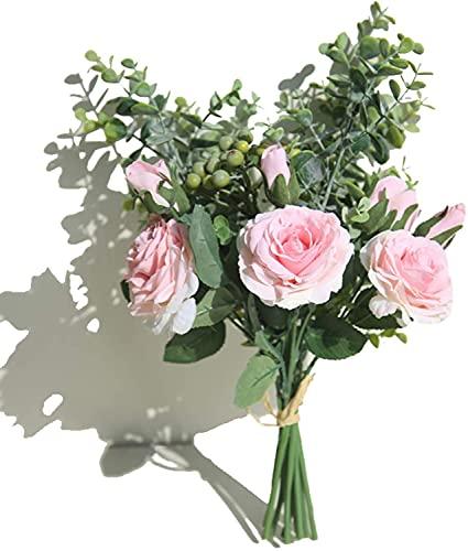 huaao Ramo de rosas artificiales con tallos y hojas de eucalipto para decoración de bodas, ramos de decoración de interiores, flores de seda (rosa)