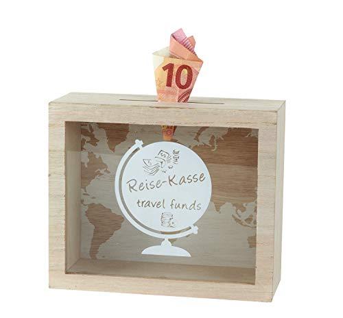 Lifestyle & More Praktische Spardose Sparbüchse Reisekasse aus Holz/Glas 18x15 cm