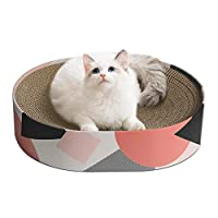 【PERFECT LOUNGE FOR NAPPING】 - Concave design can fit the spine better when the kitty curls up on the scratching pad and reduce the pressure on the spine. It also provide better wrapping, so kitty will get more sense of security and comfort on it. 【P...