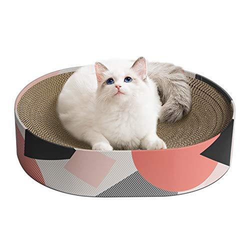 ComSaf Kratzbrett für Katzen, 44x34x10cm Kratzmatte Katze, Ovale Katzen Spielzeug Kratzmöbel Wellpappe, Recycelbar Kratzpad aus Qualitäts-Pappe, Halten Sie Katzen Spaß Gesund