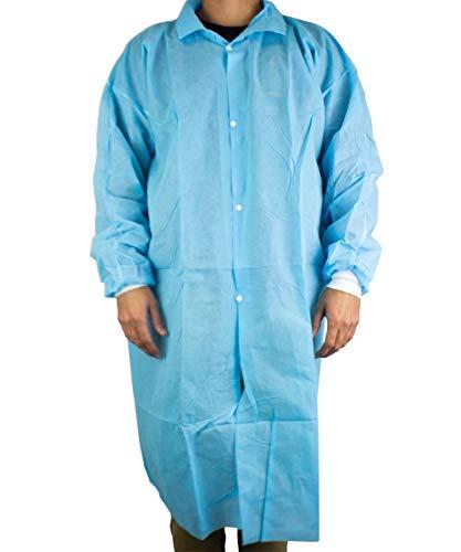 Lab Coat XL 50 pcs Gown with Elastic Cuffs Blue Medical Restaurant