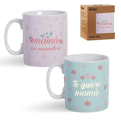 D'CASA Taza Ceramica XXL -600ml Mama Regalo Original para el Dia de la Madre - 1 Unidad aleatoria