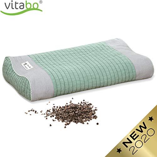 Vitabo Buchweizenkissen zum Schlafen und Liegen | Kopfkissen mit Stützfunktion für Nacken und Wirbelsäule | Schlafkissen mit ergonomischer Wellenform (Grün/Grau)