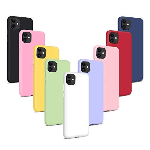 9X Fundas para iPhone 11 / XIR 2019 (6.1), Carcasas Flexible Suave TPU Silicona Ultra Delgado Protección Caso(Rojo + Rosa Claro + Púrpura + Amarillo + Rosa Oscuro + Verde + Negro + Azul Oscuro)