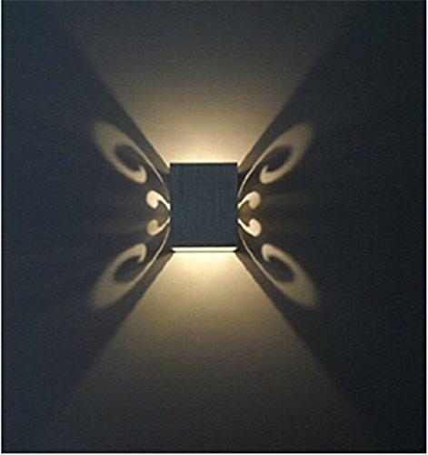 5151BuyWorld papillon 3W Led Applique Applique à montage en surface Luminaire Effet Aluminium moderne Décoration d'intérieur Holiday [Jaune]