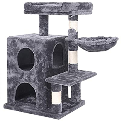 BEWISHOME Cat Tree Condo with Sisal Scratching Posts, Plush Perch, Dual Houses and Basket, Cat Tower Furniture Kitty Activity Center Kitten Play House, Smoky Grey MMJ06H