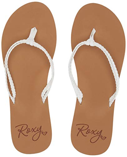 Roxy Women's Costas Sandal Flip-Flop, White, 7 Medium US