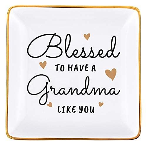 Regalos para la abuela de la baratija, regalos de cumpleaños para la abuela de la nieta, bandeja de joyería para el collar de la abuela..