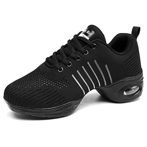 Women's Jazz Shoes Lace-up Sneakers - Breathable Air Cushion Lady Split Sole Dance Zumba Walking Shoes Platform Black,5