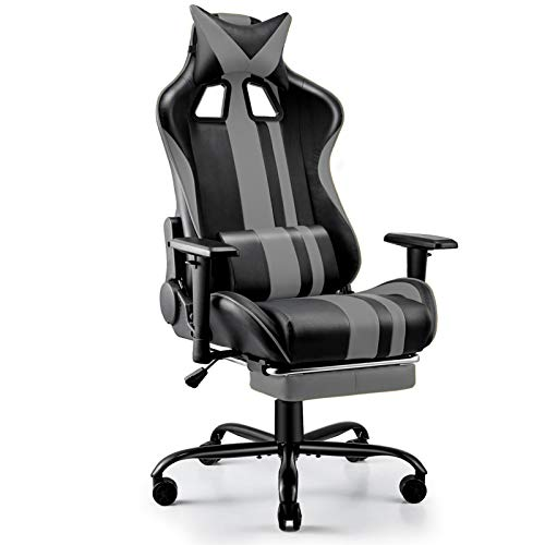 Soontrans ゲーミングチェア 人間工学 ハイバック オフィスチェア フットレストー付き ヘッドレスト ランバーサポート 椅子 ワーク パソコンチェア 腰痛対策 (灰)