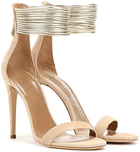 Damen Schuh Sommer Damen Sandalen Sandalen Sandalen Wildleder Glänzend Elegante Schleife Peep Toe High Heels Partyschuh  zu verkaufen