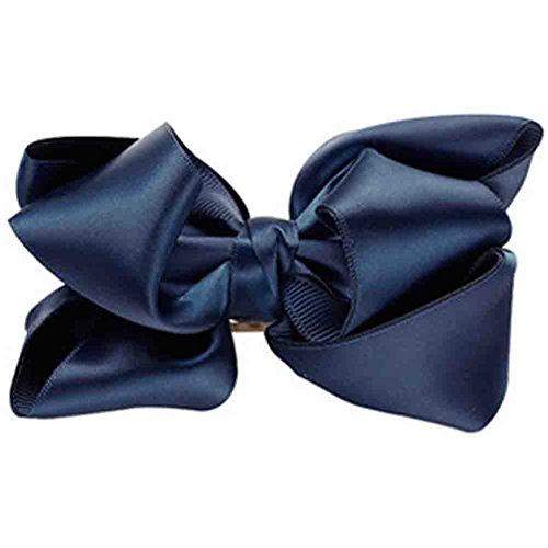 Barrette à cheveux bowknot,Pinces à cheveux en Soies et satins,bleu foncé