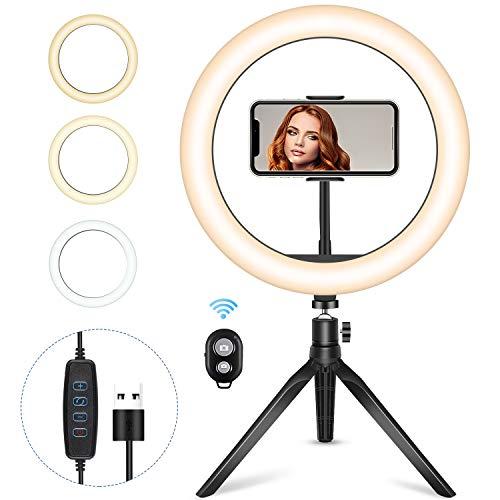 BRIGENIUS Ringlicht, Ringleuchte LED, Selfie Ringleuchte Stativ mit Fernbedienung, Live Licht,Tischringlicht mit 3 Farbe und 10 Helligkeitsstufen