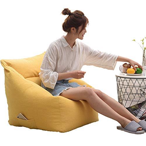 Yuzhijie Sofá cuadrado perezoso puf de ocio sala de estar dormitorio perezoso silla red de algodón rojo simple sofá extraíble y lavable, amarillo - EPS