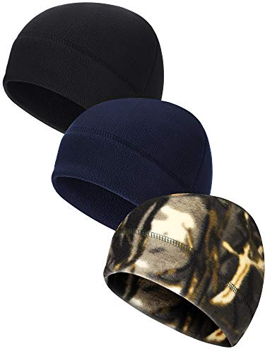 3 Pieces Winter Warm Skull Cap Soft Polar Fleece Beanie Hat Thick Windproof Watch Cap Skiing Outdoor Cap for Men Women (Dark Blue, Black, Camouflage)