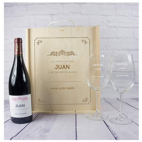 Kit con Botella de Vino + Copas de Vino + Caja de Madera, Todo ello Personalizable con Nombre, dedicatoria y Firma
