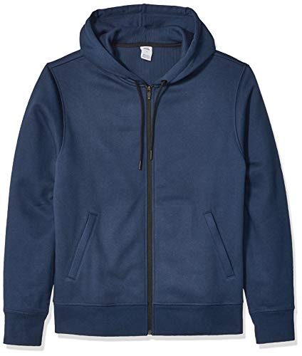 Amazon Essentials Men's Water-Repellent Thermal-Lined Full-Zip Fleece Hoodie, Navy Heather, Large