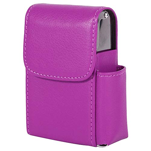 Fdit PU Leather Cigarette Box Case with Pouch Lighter Holder Cigarette Case Wallet Design for Men and Women Unisex(Rose Red)