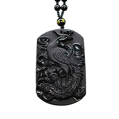 DADATU Negro Obsidiana Phoenix Collar Colgante Gran Pájaro Joyería Amuleto Negro Suerte Joyería