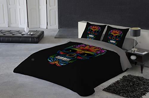 TEXTIL TARRAGO Juego Funda Nordica para Cama de 90 cm 100% algodón percal, estampación Digital fotografica Modelo Calavera Negra