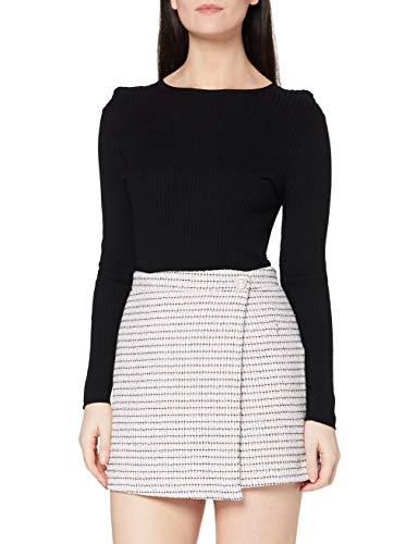 Miss Selfridge Grey Boucle Mini Skirt Gonna, Grigio, 12 Donna