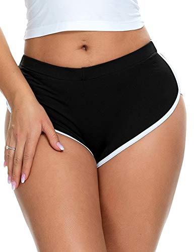 winying Pantalones Cortos Deportivos Mujer de Yoga Fitness Gimnasia Playa al Aire Libre Verano Pantalones Cortos de Delfín Shorts de Baño Natación Negro XX-Large