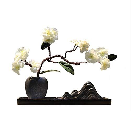 NYKK Künstliche Blume Chinesische Keramik Vase Künstliche Blumen Zen Wohnaccessoires, Landschaft Sand Tabelle Rockery Künstliche Topfpflanze, künstliche Blumen-Set Künstliche Bonsai Ewige Blume