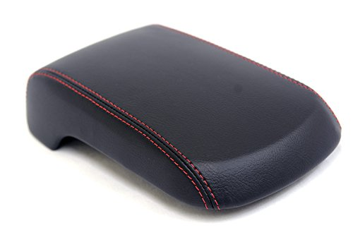 KarDesigners Fits 2008-2016 Mitsubishi Lancer Synthetic Black Leather Console Armrest Cover with Red Stitching. (Skin Only)