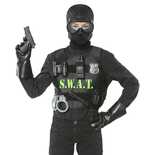 Amakando Kinder Faschingskostüm Polizist mit Swat-Weste & Ausrüstung / Schwarz / Karnevalskostüm Spezialeinheit für Kinder / Genau richtig zu Kinder-Fasching & Kostümfest