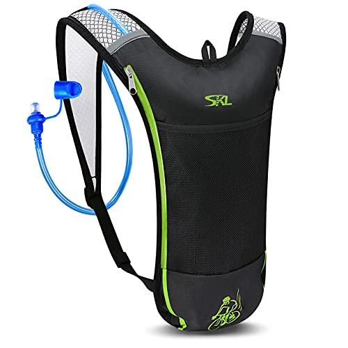 SKL Mochila de hidratación con bolsa de hidratación de 2 litros, mochila de hidratación ultraligera, mochila para correr, con sistema de hidratación, sin BPA, para camping, senderismo, viajes, correr