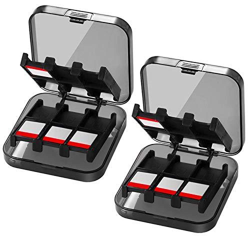 2x CamKix Funda de juego compatible con Nintendo Switch - Para hasta 48 juegos de conmutador Nintendo - Organizador de tarjeta de juego - Contenedor de viaje - 2x Funda dura con 24 insertos