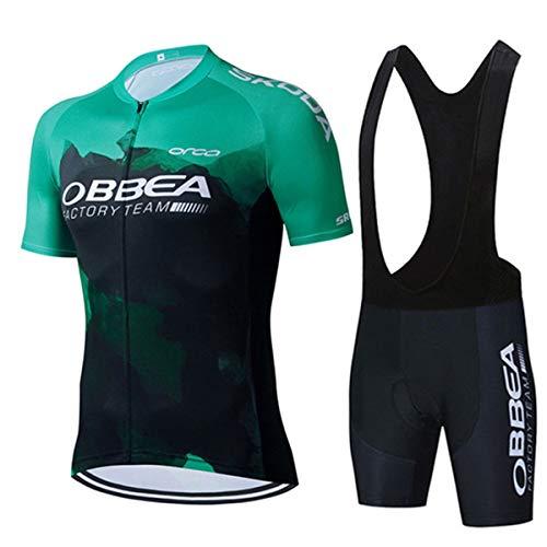 TeckBoo Conjunto Ropa Ciclismo para Verano, Maillot Ciclismo Mangas Cortas y Culotte Pantalones Cortos Bicicleta con 5D Gel Pad, Equipacion Ciclismo para Hombre (4XL, ORBEA11-DTBKLV)