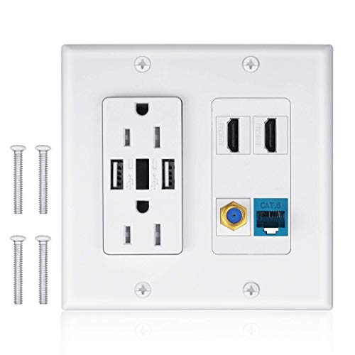 2 Power Outlet 15A with Dual 2.4A USB Charger Port Wall Plate with LED Lighting, IQIAN 2 HDMI HDTV + 1 CAT6 RJ45 Ethernet + Coaxial Cable TV F Type Keystone Face Plate White …