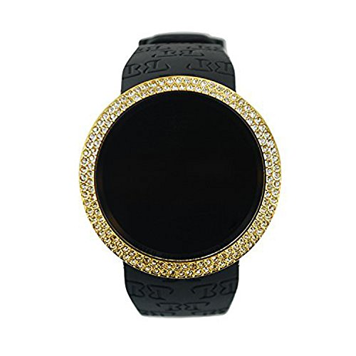Techno Pave Iced Style Bling Lab Diamond Gold Black Digital, Gold, Size No Size