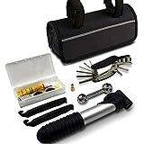 Leikance Kit de herramientas de reparación de neumáticos de bicicleta, 16 en 1, bomba multiusos, kit de parches para reparación de bicicletas