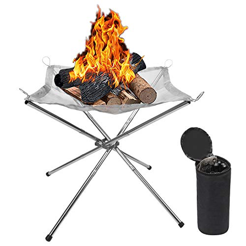 Hoedia Portable Fire Pit Outdoor 16.5 Inch Camping Fire Pit Foldable, Steel Mesh Fire Pits Fireplace for Camping, Outdoor, Patio, Backyard and Garden (Silver)