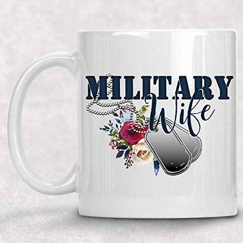 Military Wife Mug Floral Dog Tags Watercolor Art Coffee Cup Gift for Her
