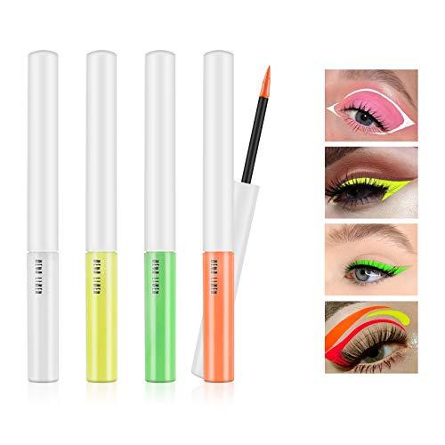 Freeorr 4 Farben Neon Eyeliner Set, Matt Liquid Eyeliner Leuchtender Neon Eyeliner UV Glow Eyeliner, Fluoreszierendes Augengesicht Körperfarbe Makeup Set A
