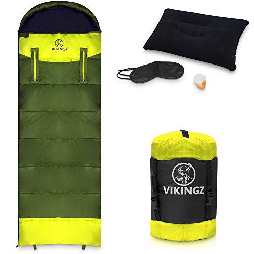 VIKINGZ 4 Jahreszeiten Schlafsack für Erwachsene und Kinder – Ultraleicht mit kompakten Packmaß -Wasserdicht und waschbar -Ideal für Camping Festival & Survival inkl. Kompressionsbeutel & Bonus-Set