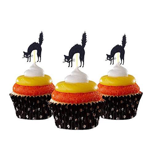 Halloween Katze Cupcake Topper 12 Stück pro Packung Dekoration Kuchen Glitzer Karte Stock weiß