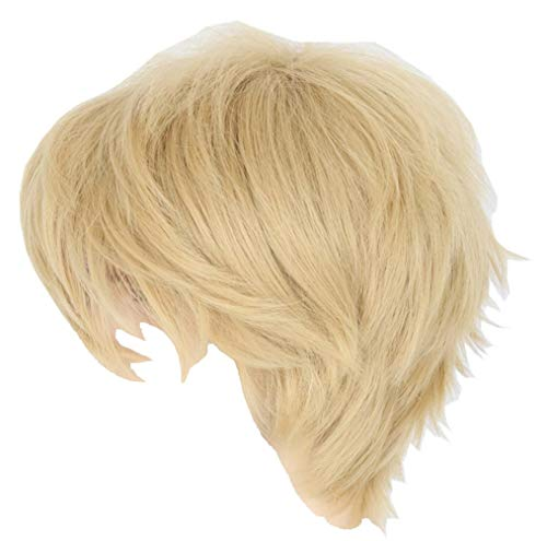 Topcosplay Women or Men Wig Blonde Short Layered Fluffy Cosplay Halloween Wigs